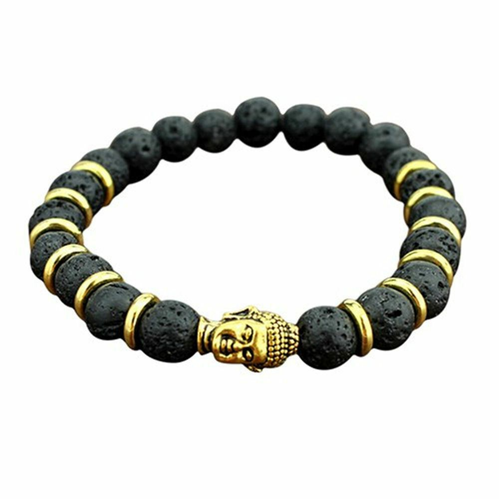 Buddha Bracelet, Black and Gold Lava Stone