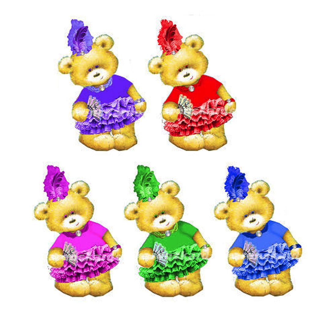 Glamour Flapper Style Teddy Bear Card Toppers x 5