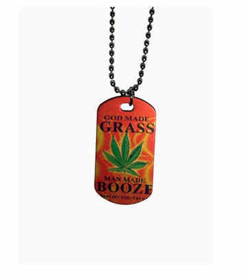 Men's Dog Tag Necklace - Grass Booze Design