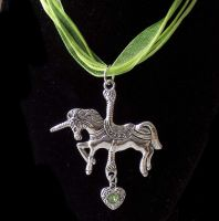 Unicorn Pendant Necklace with Green Ribbon