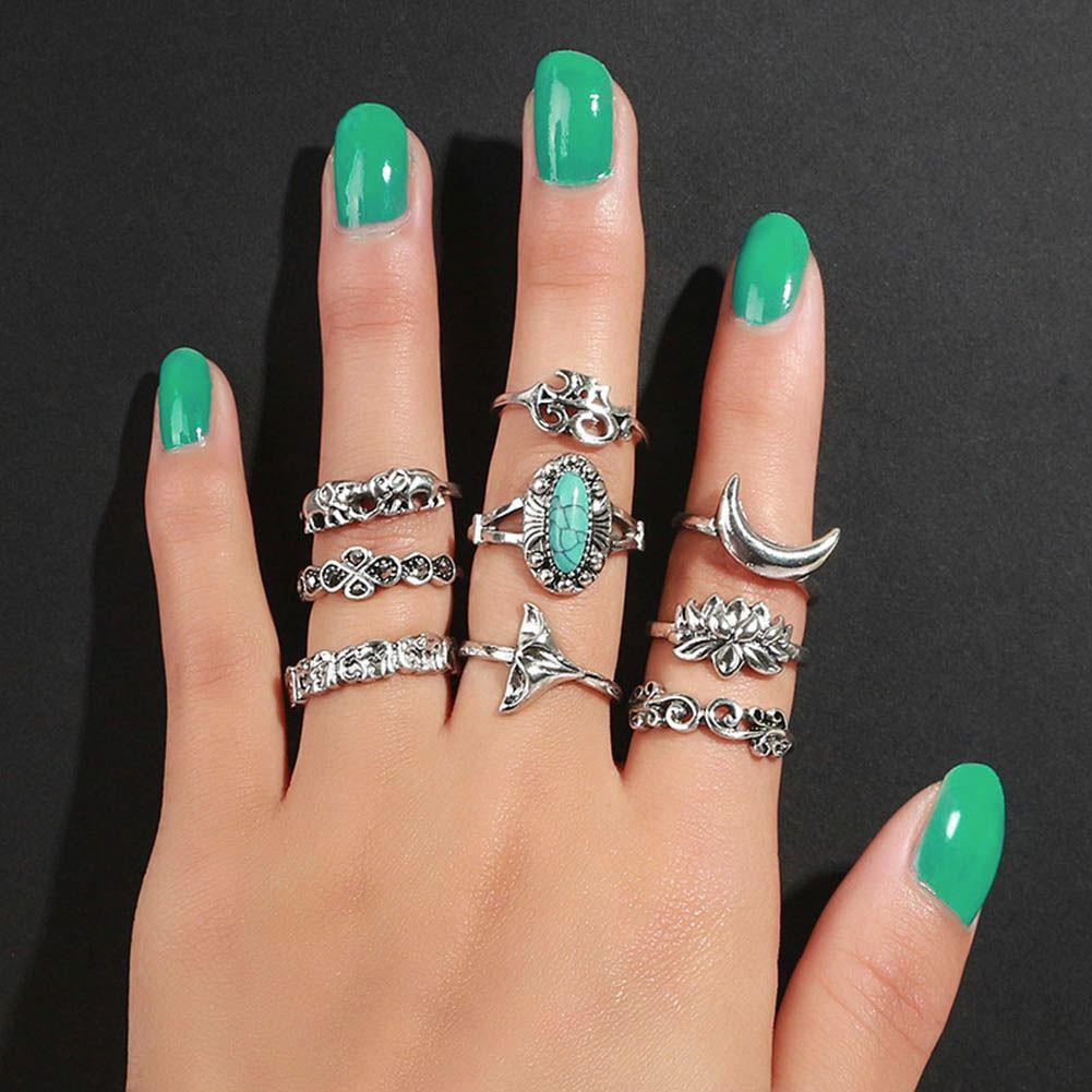 Silver Rings x 9 Boho Stylish Fashion