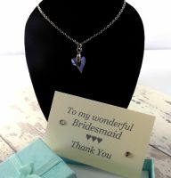 Thank You Bridesmaid Royal Blue Crystal Heart Necklace