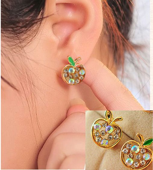 Apple Gold Stud Earrings with White Rhinestones