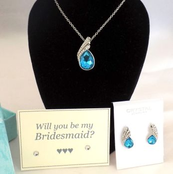 Will You Be My Bridesmaid? Necklace and Earring Gift Set - Turquoise