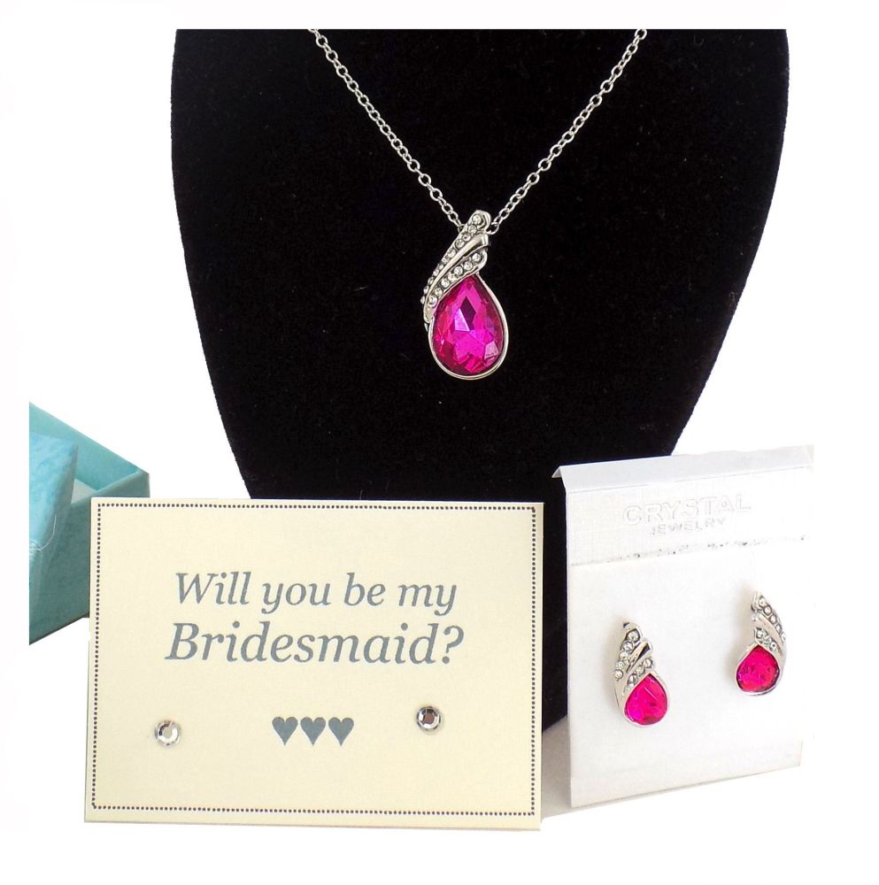 Will You Be My Bridesmaid? Necklace and Earring Gift Set - Pink