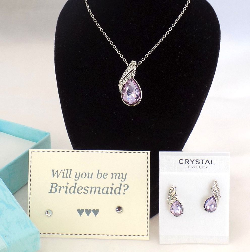 Will You Be My Bridesmaid? Necklace and Earring Gift Set - Lilac