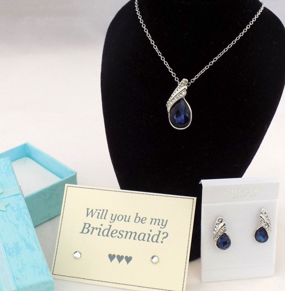 Will You Be My Bridesmaid? Necklace and Earring Gift Set - Navy