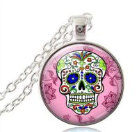 Halloween Sugar Candy Skull Necklace - Pink