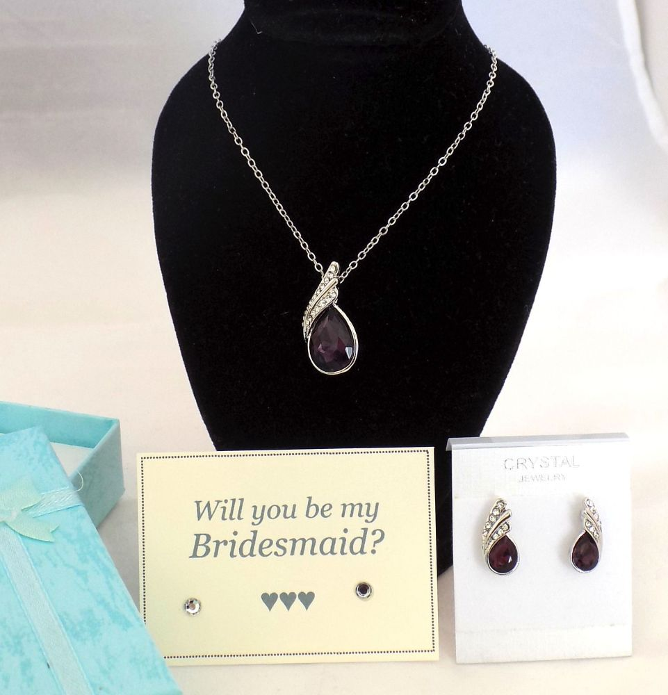 Will You Be My Bridesmaid? Necklace and Earring Gift Set - Purple