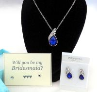 Will You Be My Bridesmaid? Necklace and Earring Gift Set - Royal Blue