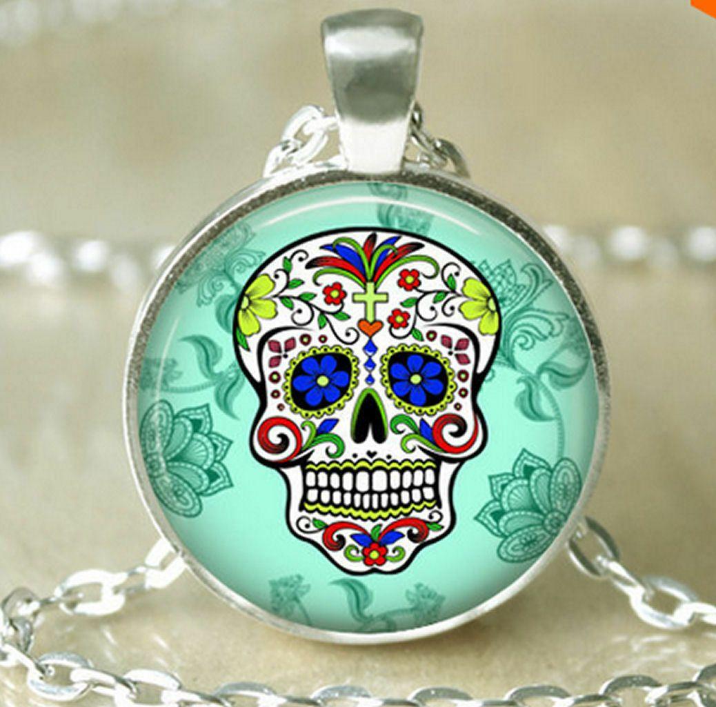 Halloween Sugar Candy Skull Necklace - Green