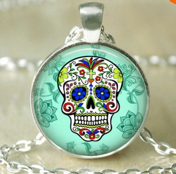 Halloween Sugar Candy Skull Necklace - Green
