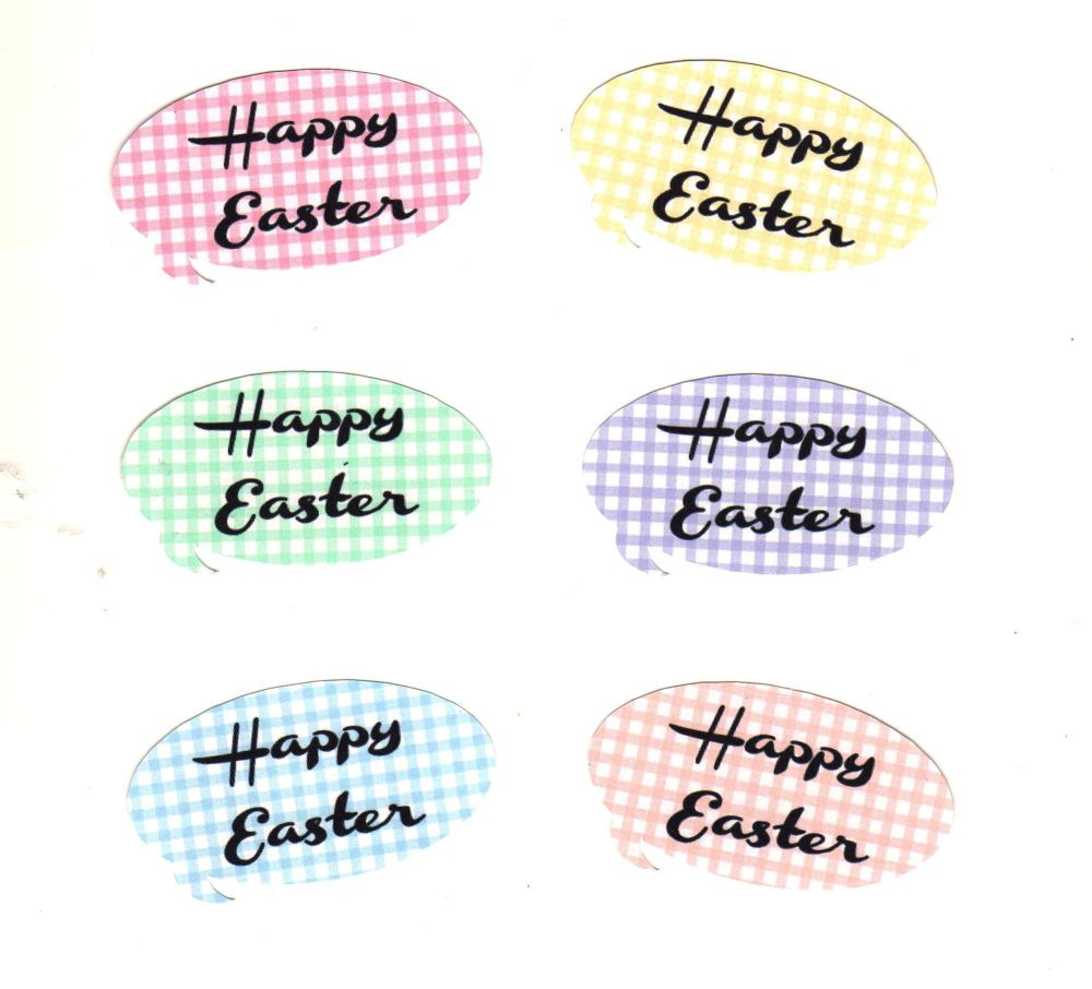 Happy Easter Gingham Speech Shapes