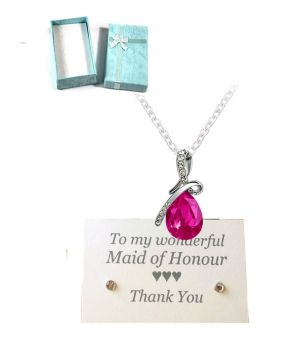 Maid of Honour Pendant Necklace - Shocking Pink