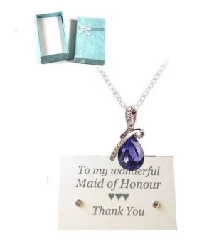 Maid of Honour Pendant Necklace - Purple