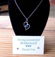 Bridesmaid Heart Pendant Necklace, Thank You Card & Gift Box - Aqua