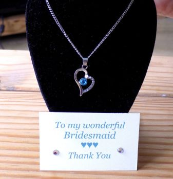 Bridesmaid Heart Pendant Necklace, Thank You Card & Gift Box - Aqua