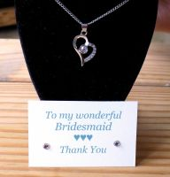 Bridesmaid Heart Pendant Necklace, Thank You Card & Gift Box - Clear