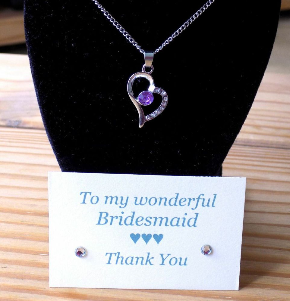 Bridesmaid Heart Pendant Necklace, Thank You Card & Gift Box - Lilac