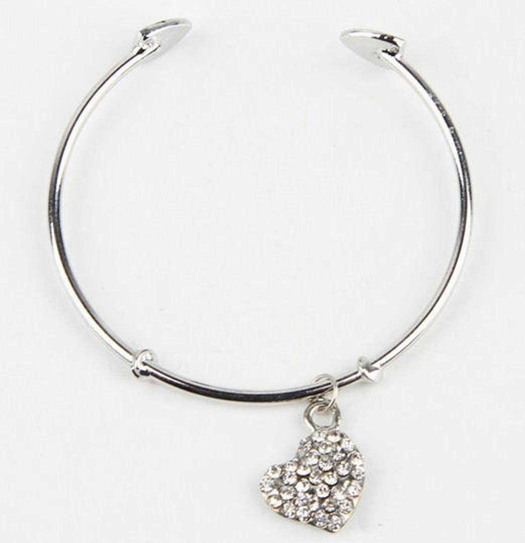 Silver shade solid bracelet with rhinestone pendant heart