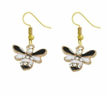 Bee Earrings in Black, White and Gold