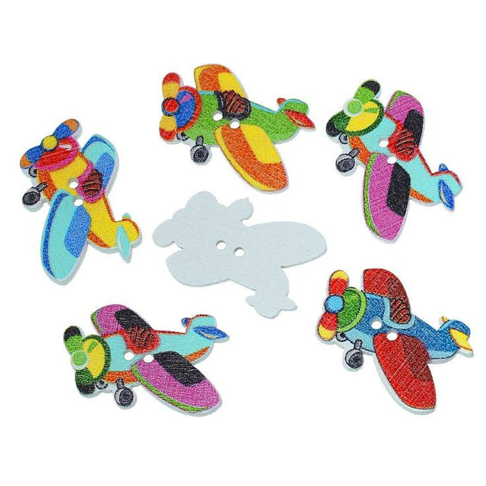 Aeroplanes Wooden Craft Button Embellishments x 10