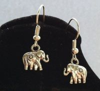 Elephant Earrings in Silver - Handcrafted