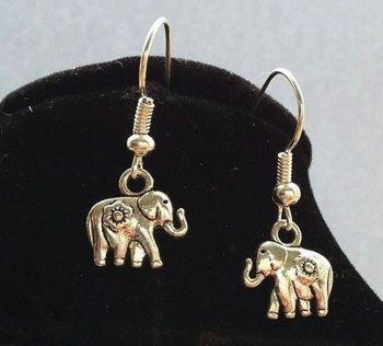 Elephant Earrings in Silver - Handcrafted