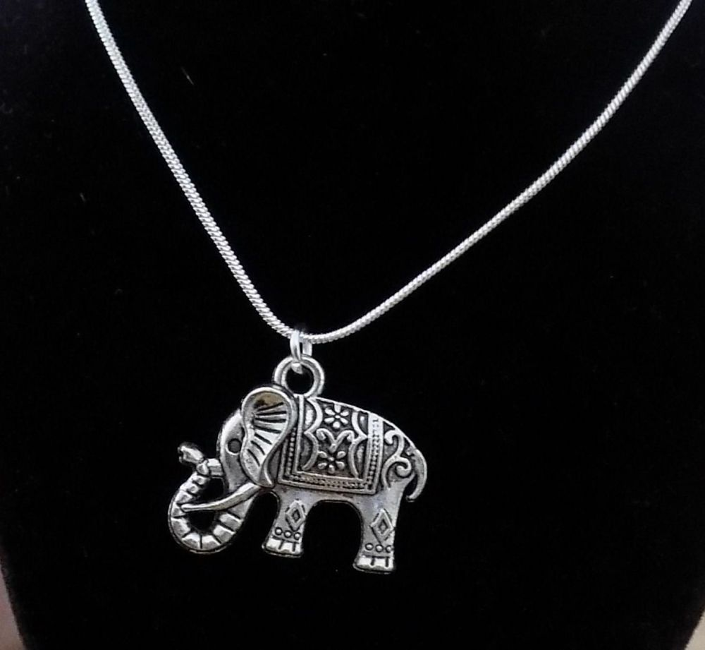 Silver Elephant Pendant Necklace - Handcrafted