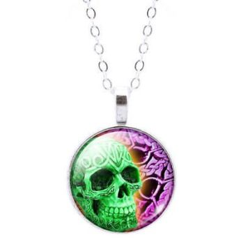 Skull Glass Dome Pendant Necklace