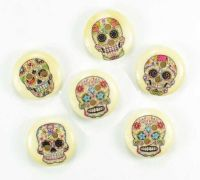 Sugar Skull Candy Wooden Embellishments x 10