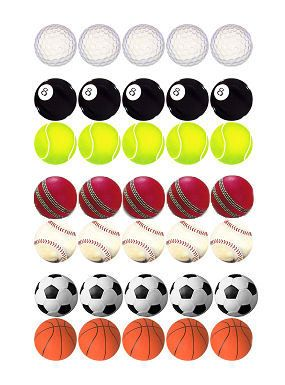 Sports Balls Die Cut Embellishments x 20