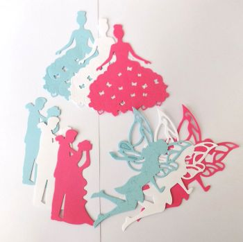 Fairy Princess, Fairy and Married Couple Set of Die Cut Crafting Embellishments x 9