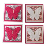 Birthday Butterfly Pink and White Card Making Topper Embellishments x 4