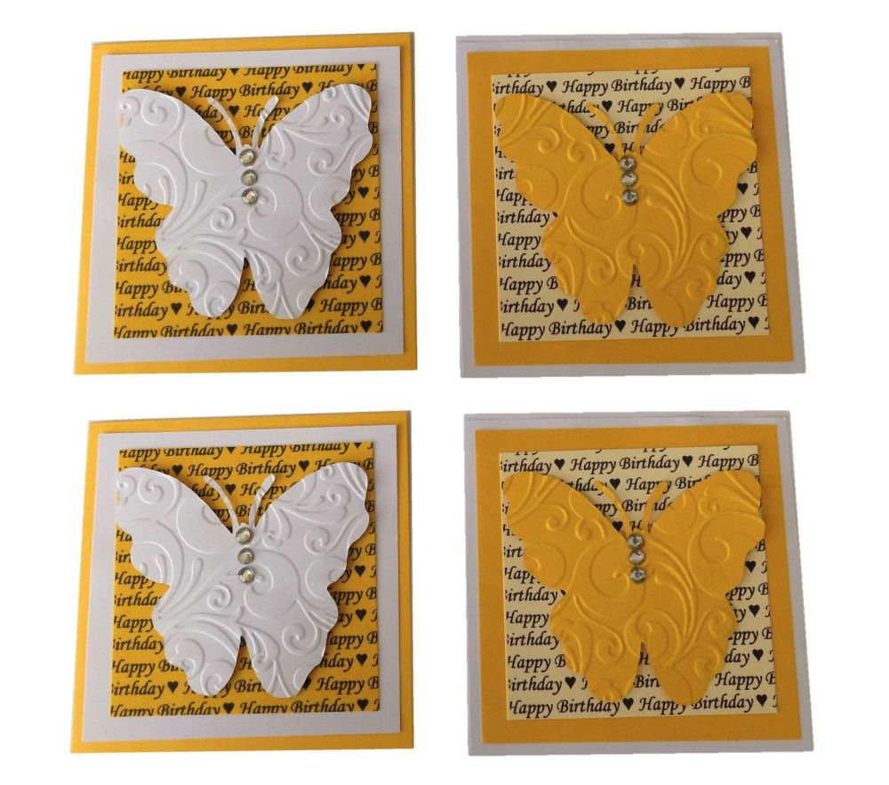 Birthday Butterfly Yellow and White Card Making Topper Embellishments x 4