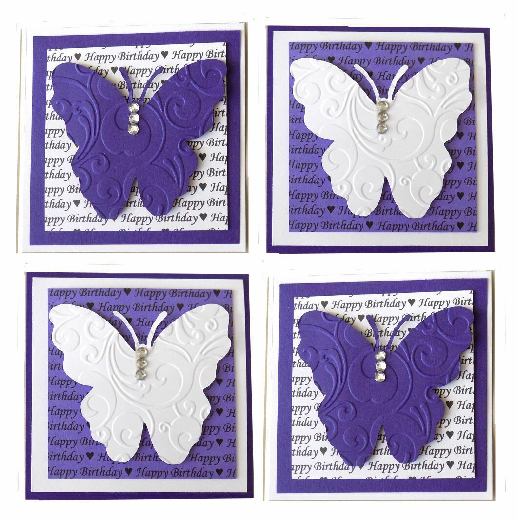 Birthday Butterfly Purple and White Card Making Topper Embellishments x 4