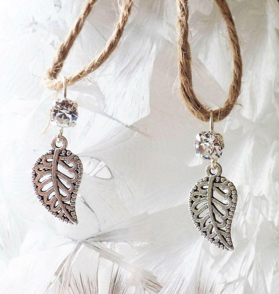 Silver Leaf Earrings - Handcrafted