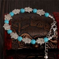 Hamsa Hand Bracelet with Turquoise and Tibetan Silver Detailing