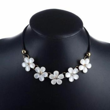 Statement Floral Gem and Black Corded Necklace