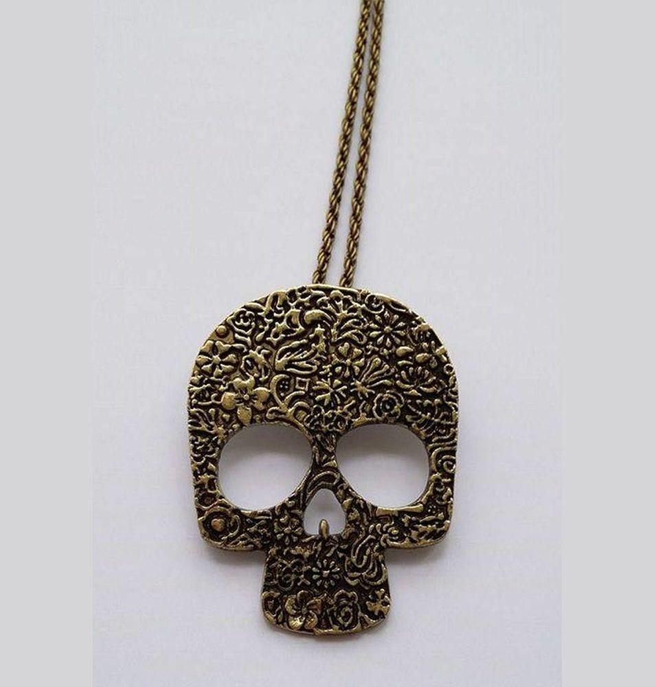 Gothic Skull Long Pendant Necklace Antique Gold
