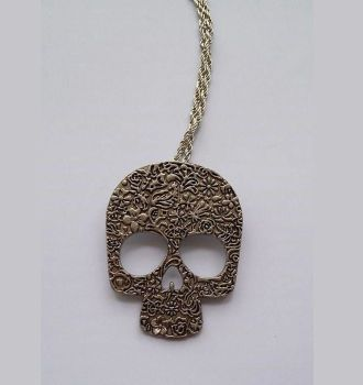 Gothic Skull Long Pendant Necklace Silver