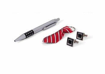 Mens Pen, Cufflinks and Fabric Tie Keyring Set