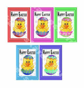 Happy Easter Chicks in Eggs Card Toppers
