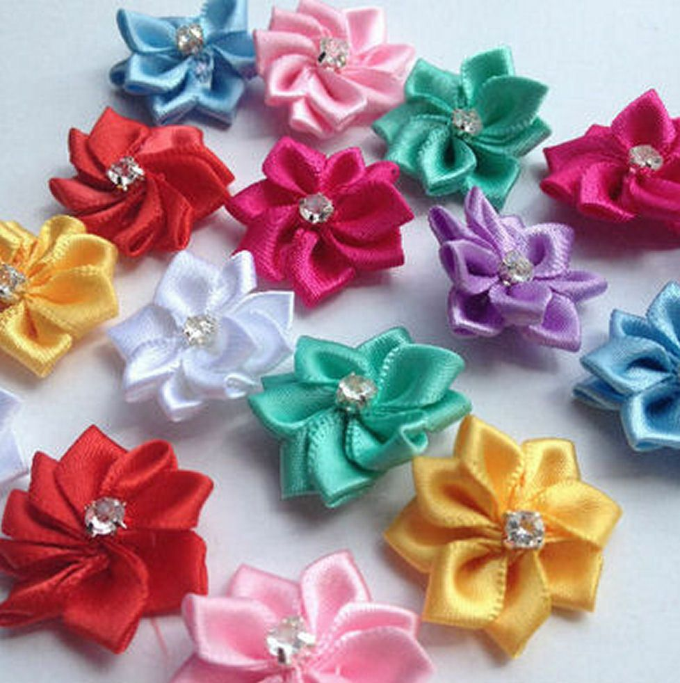 Flower Embellishments Assorted Shades with Gems