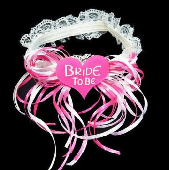Bride to Be Garter in Pink and White