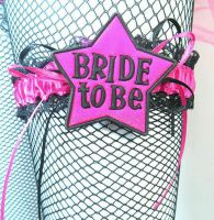 Bride to Be Garter in Shocking Pink and Black