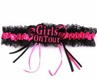 Girls on Tour Garter in Shocking Pink and Black