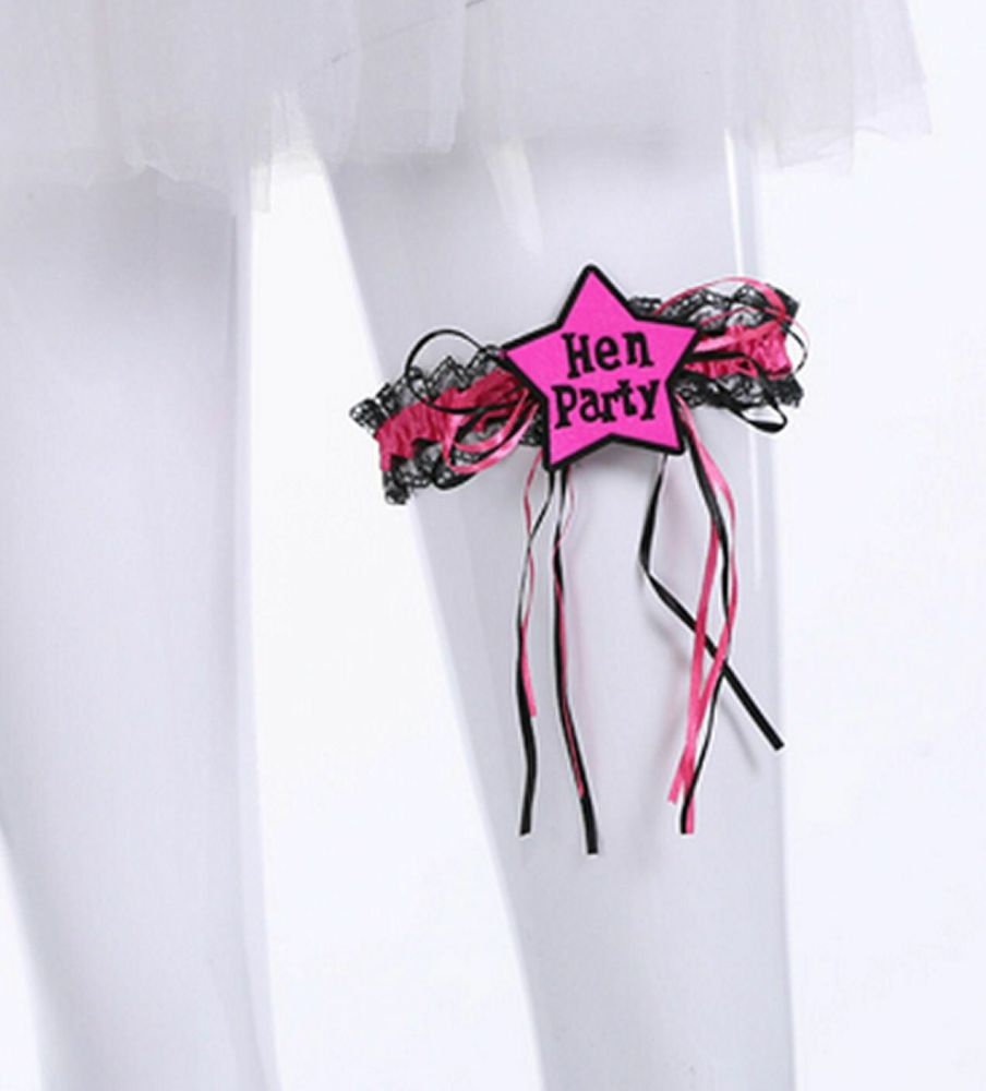 Hen Party Garter in Shocking Pink and Black