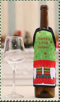Santa's Little Helper Christmas Wine Bottle Apron Cover
