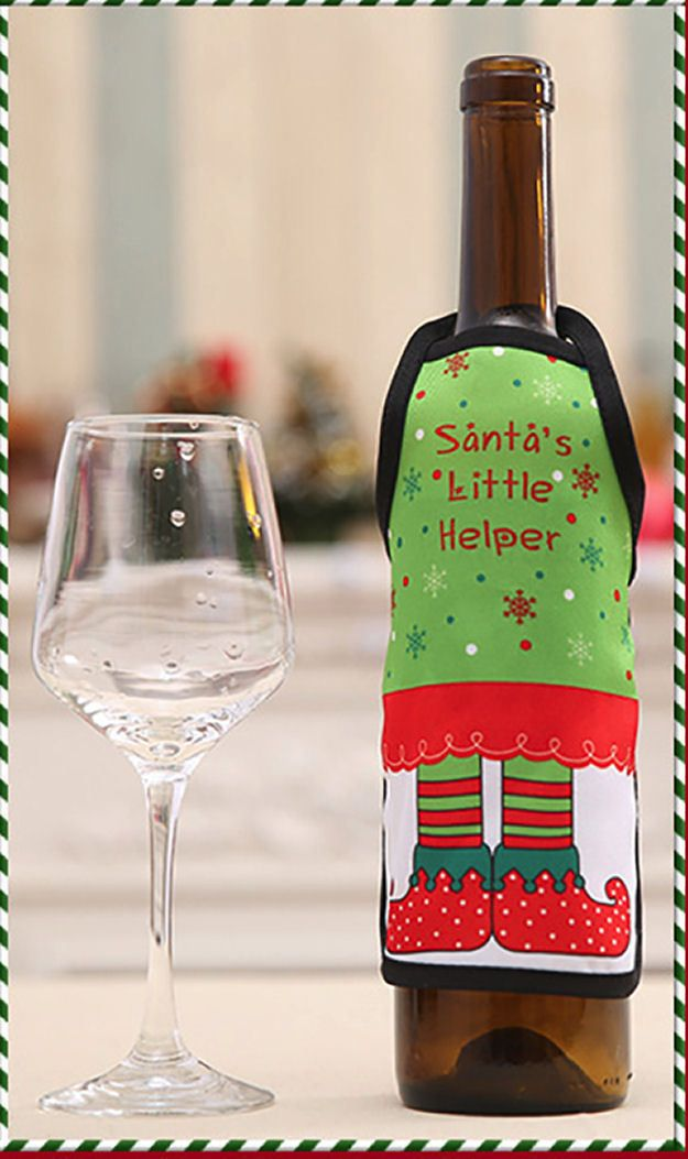 Santa's Little Helper Christmas Wine Bottle Apron Cover